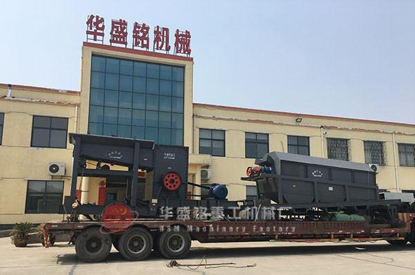 新xiang市chang垣县用户订购的不锈gang筛分机发货现场